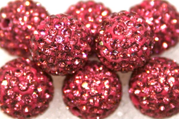 10mm Pink 115 Stone  Pave Crystal Beads- 2 Hole PCB10-115-006